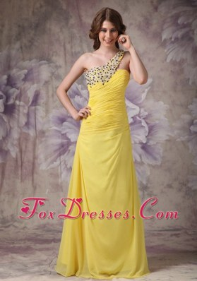 Yellow Prom Evening Dress One Shoulder Beading Ruching