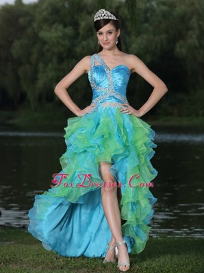 High-low One Shoulder Multi-color Prom Gown With Ruffles Beading