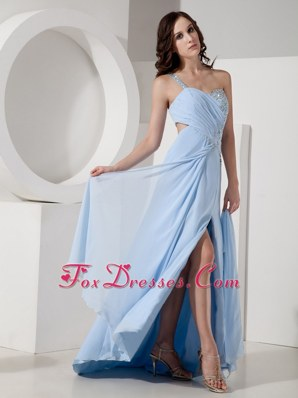 Light Blue Prom Celebrity Dress One Shoulder High Slit Chiffon