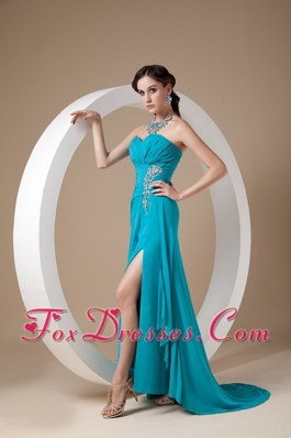 Sexy Teal Sweetheart Prom Celebrity Dress Beading and Ruche
