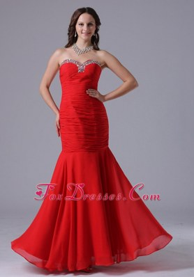 2013 Wine Red Mermaid Prom Evening Dress Sweetheart With Ruch