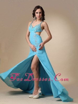 Sexy Aqua Blue Straps Beading Prom Evening Dress In 2013