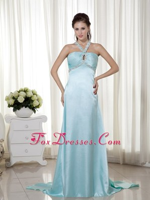 Simple Light Blue Prom Evening Dress Empire Halter Long Beading