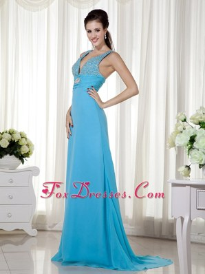 V-neck Baby Blue Column Prom Evening Dress Chiffon Beading