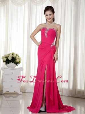 Red Column Sweetheart Beading Prom Evening Dress For Cheap