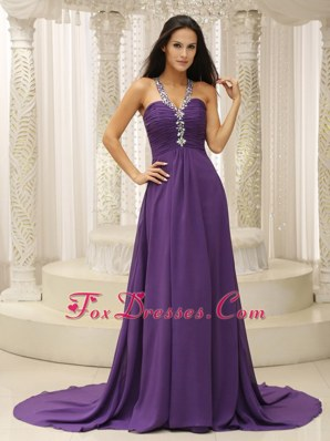 Straps Purple Prom Pageant Dress Beading Ruche 2014
