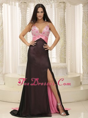 Spaghetti Straps For 2013 Prom Pageant Dress High Slit