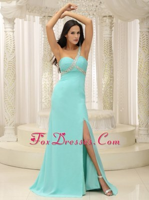 Aqua Blue Prom Pageant Dress One Shoulder Ruche High Slit