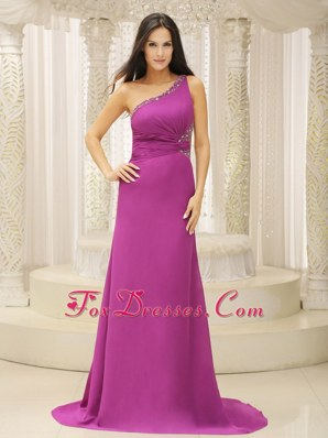 Simple One Shoulder Prom Pageant Dress Beading Chiffon Fuchsia