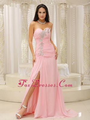 Baby Pink High Slit Prom Evening Dress Beading Sweetheart