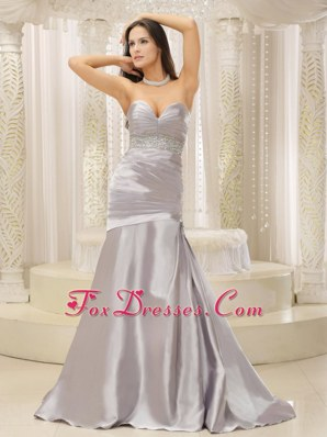 Modest Mermaid Prom Evening Dress Sweetheart Ruche Beading