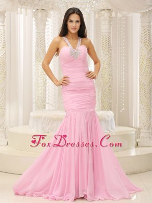 Mermaid Rose Pink V-neck Prom Evening Dress Beading Ruche