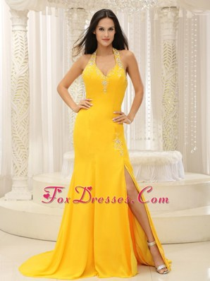 Popular Yellow High Slit Halter Top Prom Pageant Dress Chiffon
