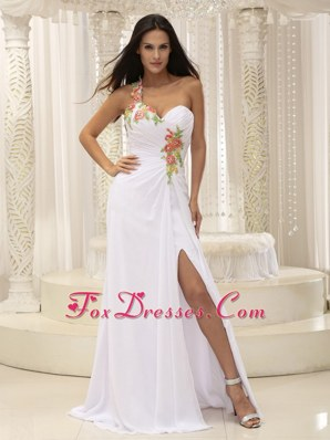Appliques Ruche High Slit For White Prom Pageant Dress