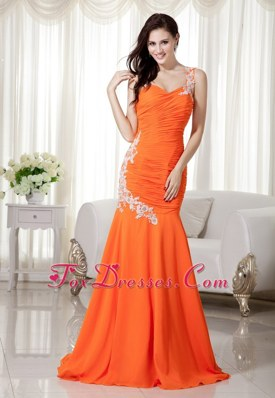 Orange Red Mermaid One Shoulder Long Prom Evening Dress