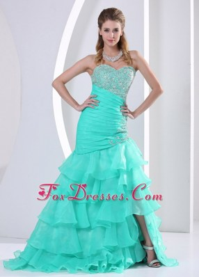 Luxurious Prom Evening Dress Ruched Layers Beading Sweetheart