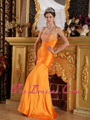 Orange Mermaid Prom Pageant Dress Sweetheart Long Beading