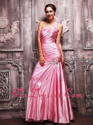 Rose Pink Column Prom Evening Dress One Shoulder Long Taffeta