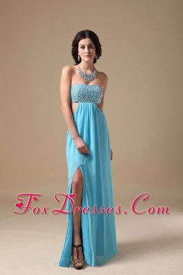 Strapless Beading Aqua Blue Empire High Slit Pageant Evening Dress