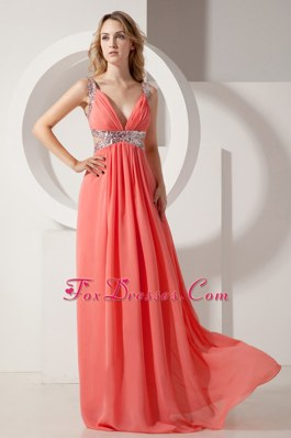Sequins V-neck Empire Long Chiffon Pageant Celebrity Dress