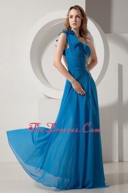 Teal Blue One Shoulder Brush Train Beading Pageant Celebrity Dress