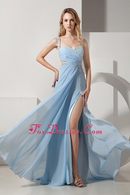 One Shoulder Light Blue Empire Brush Train Beading Pageant Celebrity Gown