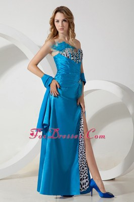 Teal Blue Sweetheart Sexy Beading and Feather Pageant Celebrity Dress