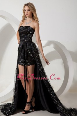 High-low Black Sweetheart Sashes Pageant Celebrity Dress