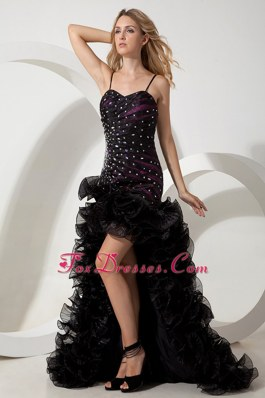 Spaghetti Straps Black High-low Beading Pageant Celebrity Dress