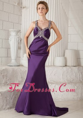 Mermaid Purple Straps Beading Brush Train Prom Pageant Dress