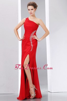 Red One Shoulder Chiffon High Slit Pageant Celebrity Dress