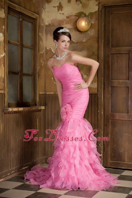 Rose Pink Mermaid Sweetheart Pageant Evening Gowns