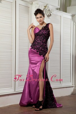 High Slit Lace One Shoulder Brush Train Pageant Celebrity Dress