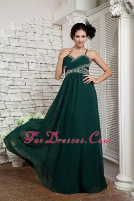 Dark Green Spaghetti Straps Long Beading Pageant Celebrity Gown