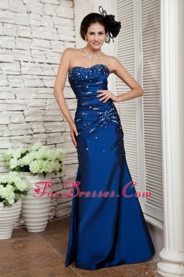 Beading Navy Blue Sweetheart Long Pageant Celebrity Dress