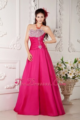 Sweetheart Hot Pink Long A-line Beading Pageant Prom Dress