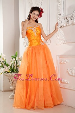 Orange Sweetheart A-line Appliques Long Prom Pageant Dress