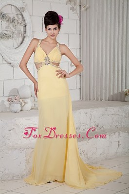 Beaded Light Yellow Empire Straps Chiffon Pageant Evening Dress