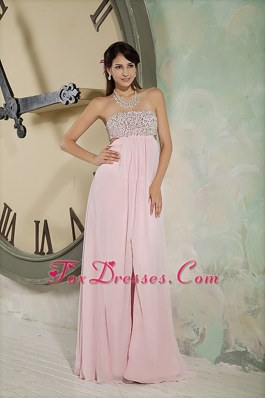 2013 Sexy Light Pink Beading Empire Strapless Pageant Evening Gown