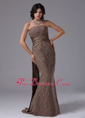 Mermaid Strapless Watteau Train For Modest Pageant Evening Dress