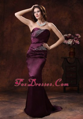 Dark Purple Beading Mermaid Pageant Evening Gowns With Brush Train