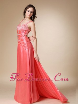 Straps Watermelon Red Beading Brush Train Pageant Evening Dress