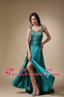 Perfect Turquoise Beaded Decorate Shoulder Brush Train Pageant Evening Gowns
