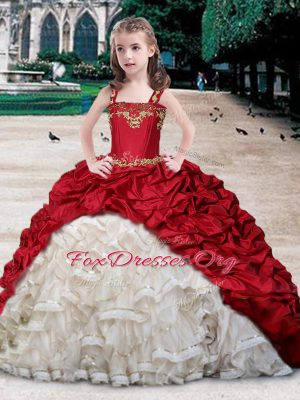 Straps Sleeveless Beading and Appliques and Ruffles and Pick Ups Lace Up Party Dresses