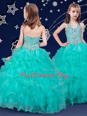 Halter Top Beading and Ruffles Juniors Party Dress Turquoise Zipper Sleeveless Floor Length