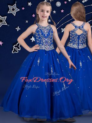 Fashionable Scoop Floor Length Zipper Juniors Party Dress Royal Blue for Quinceanera and Wedding Party with Beading