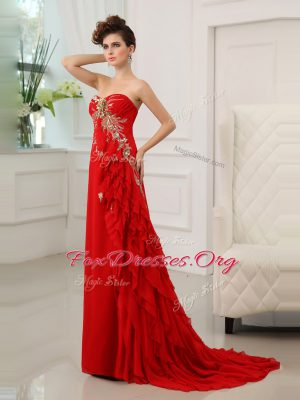 Sleeveless Chiffon With Brush Train Zipper Prom Party Dress in Red with Beading and Appliques and Ruffled Layers