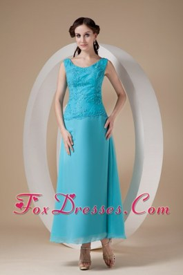 Wide Straps Beading Ankle-length Mother of the Bride Dress