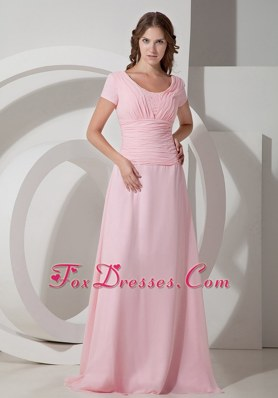 Chiffon Ruching Mother of the Bride Dress Baby Pink Scoop Neck