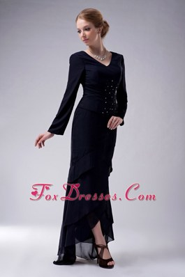 Navy Blue Long Sleeves V-neck Chiffon Beading Mother of Bride Dress